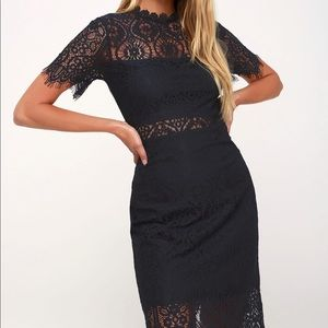 Remarkable Navy Blue Lace Dress